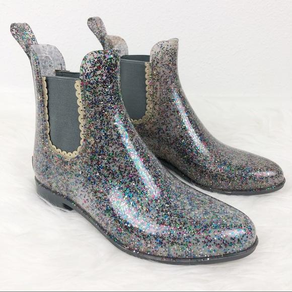 Sallie Rain Boot Clear Glitter Size 8